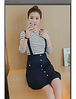 Women's Casual/Daily Simple Summer T-shirt Dress Suits,Striped One Shoulder ¾ Sleeve Cotton