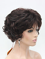New Wavy Curly Dark Auburn Mix Off Black Short Synthetic Hair Women's Full  Thick Wigs For Everyday