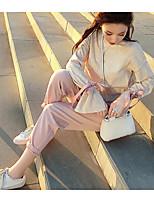 Feminino Blusa Para Noite Casual Fofo Primavera,Estampa Colorida Algodão Colarinho Clerical Manga Longa Média
