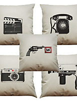 Set of 5 Retro Phone  Pattern  Linen Pillowcase Sofa Home Decor Cushion Cover (18*18inch)