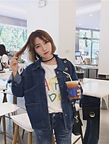 Women's Casual/Daily Simple Spring Denim Jacket,Solid Shirt Collar Long Sleeve Short Cotton