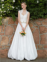 2017 LAN TING BRIDE A-line Wedding Dress - Chic & Modern Beautiful Back Floor-length Queen Anne Lace Taffeta withBeading Button Crystal Sash /