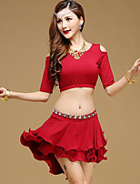 Shall We Latin Dance Outfits Women Performance Modal 2 Pieces Half Sleeve High Skirts Tops