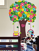 Wall Stickers Wall Decals Style Cartoon The Owl Swings Tree PVC Wall Stickers