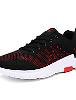 Men's Sneakers Spring Summer Mary Jane Comfort Tulle Outdoor Athletic Casual Flat Heel Lace-up Black/Red Blue Navy Blue Gray Running