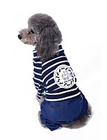 Cat Dog Coat Clothes/Jumpsuit Pants Dog Clothes Cute Fashion Casual/Daily Stripe Blue Red