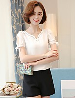 Women's Going out Casual/Daily Holiday Sexy Simple Cute All Seasons Summer Blouse,Solid V Neck Short Sleeve Rayon Thin
