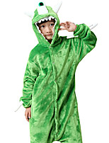 Kigurumi Pajamas Monster Leotard/Onesie Festival/Holiday Animal Sleepwear Halloween Green Animal Print Flannel Cosplay Costumes For Kid
