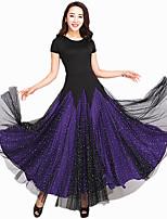 Ballroom Dance Dresses Women's Performance Spandex / Tulle Splicing 1 Piece Short Sleeve Dress