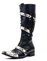Белый Черный-Для мужчин-Для прогулок Для офиса Повседневный Для вечеринки / ужина-СинтетикаУдобная обувь-Ботинки