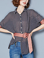 Women's Casual/Daily Simple Summer Blouse,Solid Crew Neck ½ Length Sleeve Polyester Thin