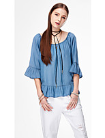 Women's Going out Casual/Daily Holiday Simple Cute Street chic Summer Shirt,Solid Round Neck ½ Length Sleeve Acrylic Thin