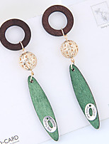 Drop Earrings Bohemian Wood Alloy Geometric Jewelry For Daily 1 Pair