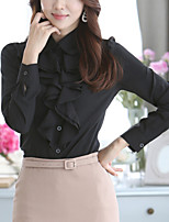 Women's Casual/Daily Work Simple Street chic OL Style Ruffle Gentlewoman All Match Grace Spring Fall ShirtSolid Shirt Collar Long Sleeve Medium