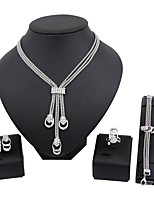 Набор украшений Мода Euramerican Простой стиль Классика Стразы В форме квадрата Серебряный 1 ожерелье 1 пара сережек 1 браслет Кольца Для