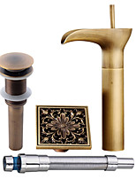 Antique Centerset Waterfall Pre Rinse with  Ceramic Valve Single Handle One Hole for  Antique Copper , Bathroom Sink Faucet