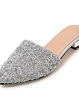 Women's Slippers & Flip-Flops Summer Fall Slingback Synthetic Dress Casual Low Heel Sequin Silver White