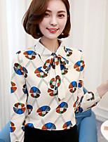 Для женщин На каждый день Весна Рубашка Рубашечный воротник,Простое С принтом Длинный рукав,Другое,Тонкая