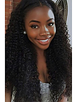 100% Human Virgin Hair Natural Black Color Small Curly Lace Front Wig with Baby Hair
