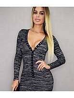 Women's Party Bodycon Dress,Solid Striped Deep V Mini Long Sleeve Cotton Summer Mid Rise Micro-elastic Medium