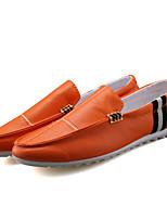 Белый Черный Оранжевый-Для мужчин-Для прогулок Для офиса Повседневный-Полиуретан-На плоской подошве-Удобная обувь Светодиодные подошвы-
