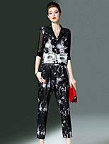 Women's Work Simple Blouse Pant Suits,Print V Neck