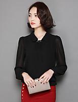 Chemise Femme,Couleur Pleine Décontracté / Quotidien simple Manches Longues Col de Chemise Polyester