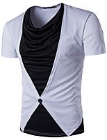 Tee-shirt Homme,Couleur Pleine Décontracté / Quotidien Chic de Rue Manches Courtes Col Arrondi Polyester