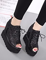 Women's Sandals Spring Club Shoes Comfort PU Casual Silver Black
