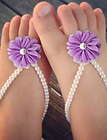 Kids Simulation Of Pearl Shoes DIY Handmade baby's Foot Chain Red/Yellow/Blue/Purple/Pink/Fuchsia/Orange