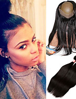 8A Pre Plucked 360 Lace Frontal Closure With 3 Bundles Brazilian Virgin Hair Straight 360 Lace Virgin Hair With Straight Weave
