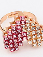 Korean Style Rhinestone White And Red Double Color Casual Elegant Peach Heart Opening Ring Movie Jewelry