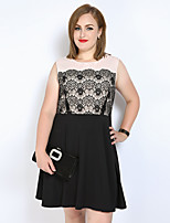 Really Love Women's Plus Size Party Club Sexy Cute Street chic A Line Lace Skater Dress,Color Block Patchwork Round Neck Knee-length SleevelessCotton