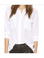Women's Casual/Daily Simple Spring Shirt,Solid Shirt Collar Long Sleeve Polyester Thin