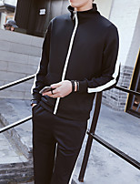 Men's Casual/Daily Hoodie Solid Stand Micro-elastic Acrylic ¾ Sleeve Spring