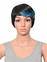 Capless Woman Wigs Synthetic 1B/Blue  Mixed Short Straight High Temprature Fiber Hair