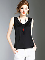 XSSLWomen's Going out Casual/Daily Beach Sexy Simple Cute Summer T-shirtSolid Deep V Sleeveless Polyester Medium