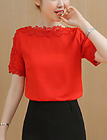 Women's Slim Cute Summer Blouse Solid Patchwork Lace Cut Out Round Neck Short Sleeve Polyester Thin