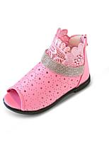 Girls' Sandals Spring Summer Comfort Flower Girl Shoes Hole Shoes PU Party & Evening Dress Casual Flat Heel Rhinestone Zipper