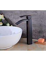 Contemporary Centerset Waterfall with  Ceramic Valve Single Handle One Hole for  Oil-rubbed Bronze , Bathroom Sink Faucet