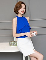 Women's Going out Casual/Daily Work Sexy Simple Cute All Seasons Summer Blouse,Solid Crew Neck Sleeveless Rayon Thin