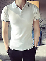Men's Casual/Daily Simple Polo,Solid Shirt Collar Short Sleeve Cotton