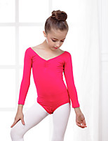 Ballet Leotards Kid's Training Cotton Spandex 1 Piece Long Sleeve Leotard