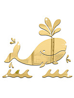 Animaux Bande dessinée Miroir Stickers muraux Autocollants muraux 3D Miroirs Muraux Autocollants Autocollants muraux décoratifs,Vinyle