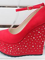 Черный Красный-Для женщин-Свадьба Для праздника Для вечеринки / ужина-Флис-На танкетке-клуб Обувь-Обувь на каблуках