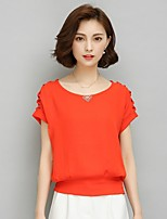 Women's Work Sophisticated Summer Blouse,Solid U Neck Short Sleeve Rayon Thin