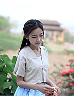 Women's Casual/Daily Chinoiserie T-shirt,Solid Embroidered V Neck Short Sleeve Linen