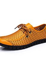 Herren Sneaker Komfort Slouch Stiefel Tüll PU Frühling Sommer Normal Walking Komfort Slouch Stiefel Schnürsenkel Flacher AbsatzGelb Blau