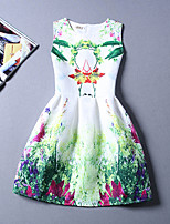 Women's Casual/Daily Beach Holiday Vintage A Line Dress,Print Round Neck Knee-length Sleeveless Cotton Polyester Summer High Rise