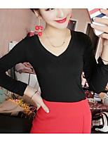 Для женщин На каждый день Блуза V-образный вырез,Простое Однотонный Длинный рукав,Хлопок Бамбуковая ткань Спандекс